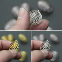 20 Pcs Gold Silver Tone Spiral Bead Cages Pendants Accessories 8x9mm dhd