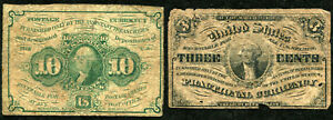 USA Postage and Fractional Currency 3c 10c for Postage Stamps Post Office
