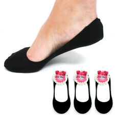 3 Pairs Black Womens Ladies No Show Foot Cover Peds Footies Liner Low Cut Socks