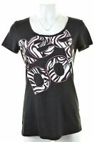 REEBOK Womens Graphic T-Shirt Top UK 12-14 Medium Black  JR17