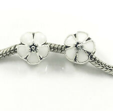 Fashion 2pcs Flower Silver European Charm Spacer Beads Fit Necklace Bracelet **