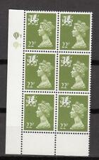 New listing Wales - Questa - 22p Yellow Green - Cyl Q1 x 6 Mnh