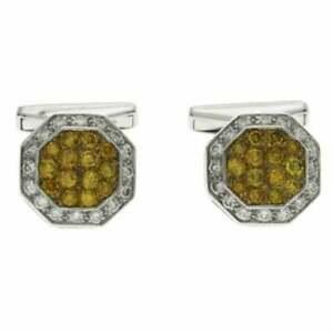 1.25 Ct Yellow Citrine & 0.45 Ct White Zircon Men's Cufflinks In 10k White Gold