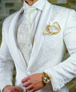 Paisley White Men's Blazer British Style Jacket Wedding Jacquard Coat Tailored