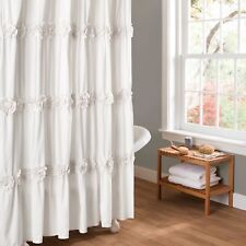 Gorgeous Fabric Rosette Shower Curtain Elegant White Ruched Clean