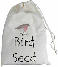 BIRD SEED STORAGE BAG - SMALL COTTON DRAWSTRING BAG - Supplied empty - BIRD FOOD