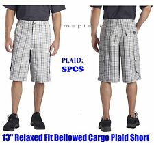 "Men Dickies Shorts 13"" Bellowed Cargo Pockets Plaid Short Pant WR551 size 30-44"