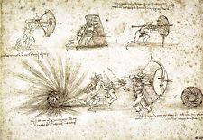 Studies of Ballistics Leonardo da Vinci Poster Print