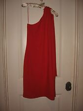 WOMENS 6 RED DONNA MORGAN SEXY COCKTAIL EVENING PARTY DRESS ONE SHOULDER