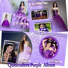"Photoshop Quinceañera Templates PSD 12x12"" Album,Green,Pink,Purple"