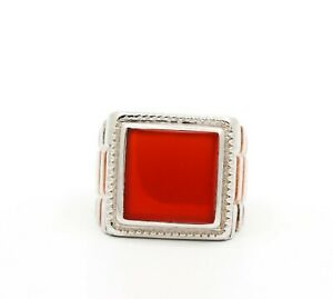 Gorgeous Natural Carnelian Gemstone 925 Solid Sterling Silver Ring Jewelry Sz9.5
