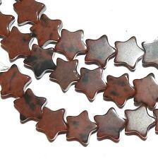 """NG2468f Brown Mahogany Obsidian 6mm Flat Star Natural Gemstone Beads 16"""""""