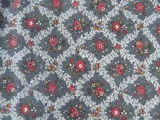 "1 1/2 x 44""  YARDS Vintage Cranston floral blue garnet red  cotton quilt fabric"
