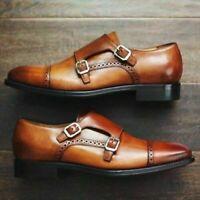 Chaussures décontractées en cuir véritable à double moine pour hommes faits à la