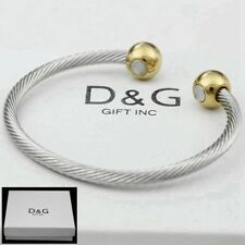 "Dg Men's 7"",Stainless Steel Gold,Silver Magnetic Cuff Cable.Bracelet Unisex*Box"