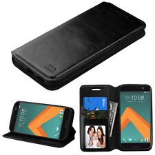 FOR HTC 10 BLACK LEATHER WALLET FLIP CARD HOLDER CASE PROTECTIVE COVER