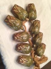 Rare VIntage Ceramic Hanging Artichoke Strand 9 Plants on Braided Fiber Rope
