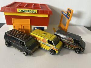 Hot Wheels Chevrolet Super Van Black / Red Flames Yellow Vintage Lot