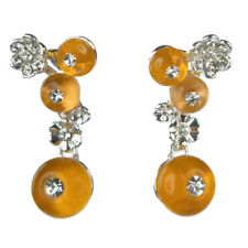 Boucles d'oreilles plaqué or blanc cristal Swarovski fleurs argenté bulle orange