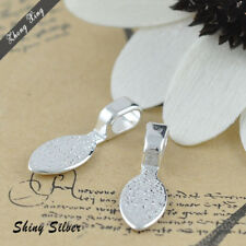 50 Sterling Silver Plated water-drop Glue on Pendant Bails for Dichroic Glass