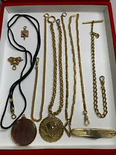 Superb Lot of Gold Filled Mixed Metal Pocket Watch Chains & Fobs Scrap/Use 138g