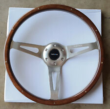 SALE NRG ALUMINUM 365mm STEERING WHEEL CLASSIC WOOD GRAIN 3-SPOKE CHROME RIVETS