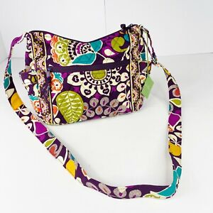 Vera Bradley On The Go Crossbody Purse Bag Plum Crazy Quilted Floral New NWT