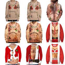 Mens Women Christmas Novelty Funny Ugly Hoodie Sweatshirt Xmas Sweater Gift
