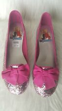 NWT Disney Liv and Maddie Loafer Bow Flat Pink Glitter Girls Size 6