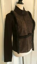 Cynthia Steffe Brown Suede Knit Rabbit Fur Zip Jacket Size M