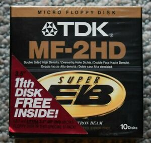 TDK MF- 2HD 3.5-Inch Micro Floppy Disks (11-Pack) Unopened! Free Ship!