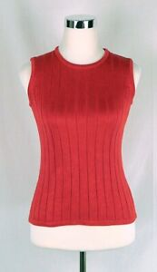 Talbots Hot Pink 100% Silk Sleeveless Vest Sweater Size Small Perfect Condition!