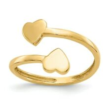 Heart Toe Ring X 1 mm 14k 14kt Yellow Solid Gold Double