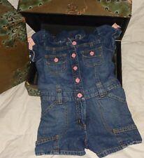 Gymboree Blue Denim Romper Shorts Pink Green Bow Size 6