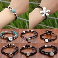 Boho Women Flower Cuff Bracelets Bangle Multilayer Leather Handmade New Fashion