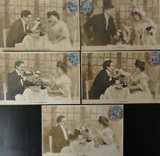 French Set of 5 APRES BAL, Romantic Dinner, La Champagne c1904 UB