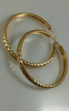 18 K Solid Hoop Earrings Yellow Gold Women 3.4 Grams