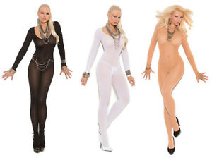 Long Sleeve Bodystocking Crotchless Bodysuit Nylon Black White Beige 1606