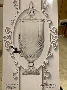 Drink Beverage Dispenser Etched Glass  Urn 4.5L Juice Water w/Tap Buffet Machine