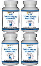 4 ~ Pure 100% TRANS RESVERATROL Pills 500mg 240 Vegetable Capsules GMO FREE