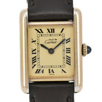 Auth CARTIER Mast Tank Silver 925/GP/Leather Hand-winding Women's Watch A#94516