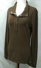Merrell Womens Top Sz M Hi Lo Long Sleeves Soft Cotton Wool Blend Oversize Snaps