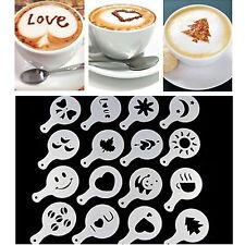 16pcs Latte Art Mould Coffee Stencil Cappuccino Foam Milk Tea Drink Craft Decor