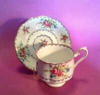 Royal Albert Petit Point - Tea Cup & Saucer - Blue & Pink Cross Stitch - England