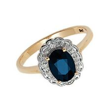 Sapphire and Diamond Ring Cluster Engagement Yellow Gold Appraisal Certificate