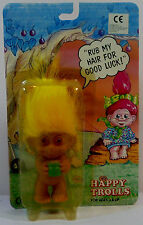 Vtg 80's 90's Happy Trolls Lucky Troll Doll w/ Yellow Hair & Treasure Pot Sealed