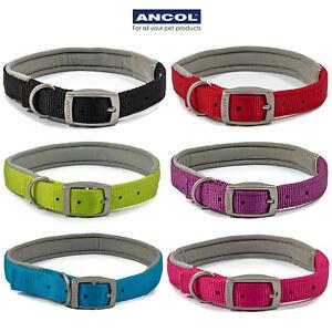 Ancol Dog Collar Neoprene Padded Nylon Black Blue Red Pink Lime Soft & Strong