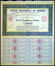 Société Industrielle de verrerie, par de fondateur au Porteur 1929 - N°005872