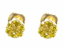 Mens Ladies Round Canary Diamond Flower Cluster Studs Earrings 10k Yellow Gold