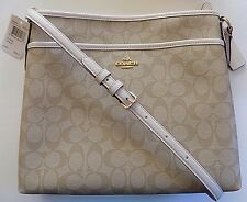 NWT COACH F34938 Signature File Bag Crossbody Handbag LIGHT KHAKI/CHALK  $225.00